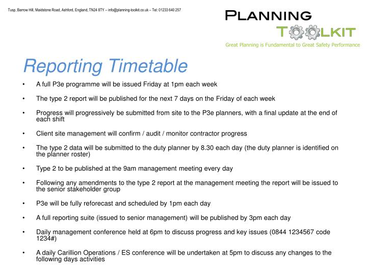 Reporting Timetable