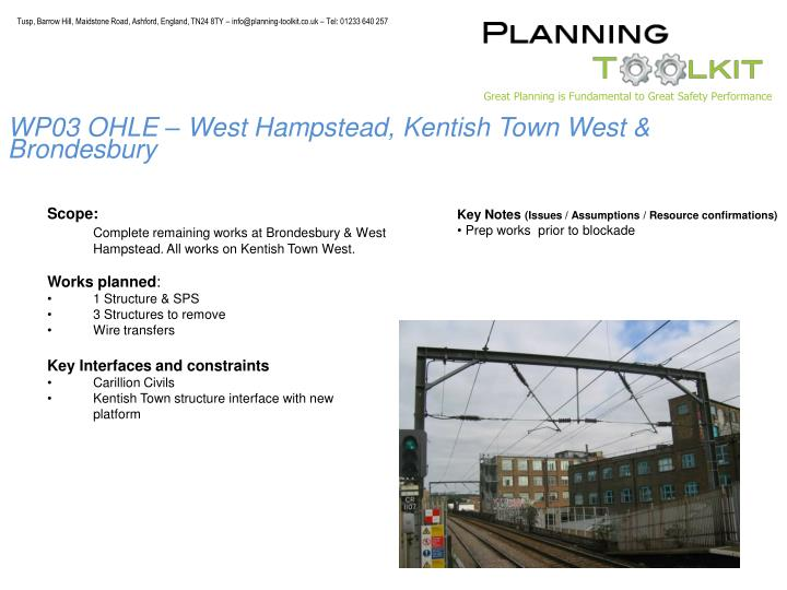 WP03 OHLE – West Hampstead, Kentish Town West & Brondesbury