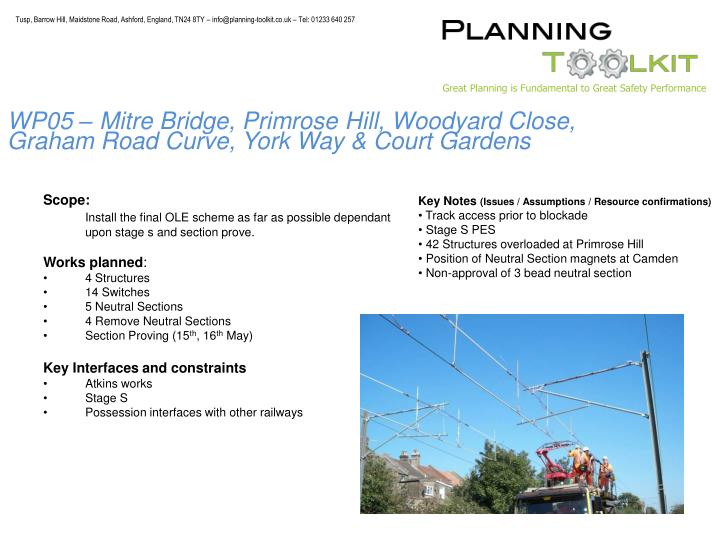 WP05 – Mitre Bridge, Primrose Hill, Woodyard Close, Graham Road Curve, York Way & Court Gardens