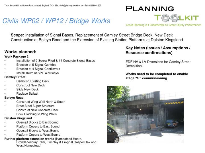 Civils WP02 / WP12 / Bridge Works