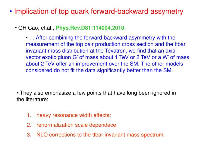 Implication of top quark forward-backward assymetry