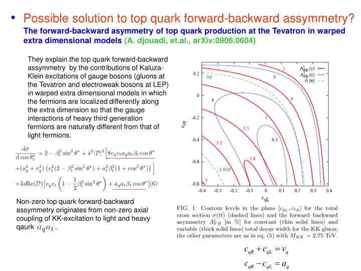 Possible solution to top quark forward-backward assymmetry?
