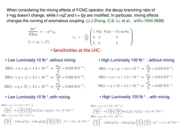 When considering the mixing effects of FCNC operator, the decay branching ratio of       t->qg doesn't change, while t->qZ and t->