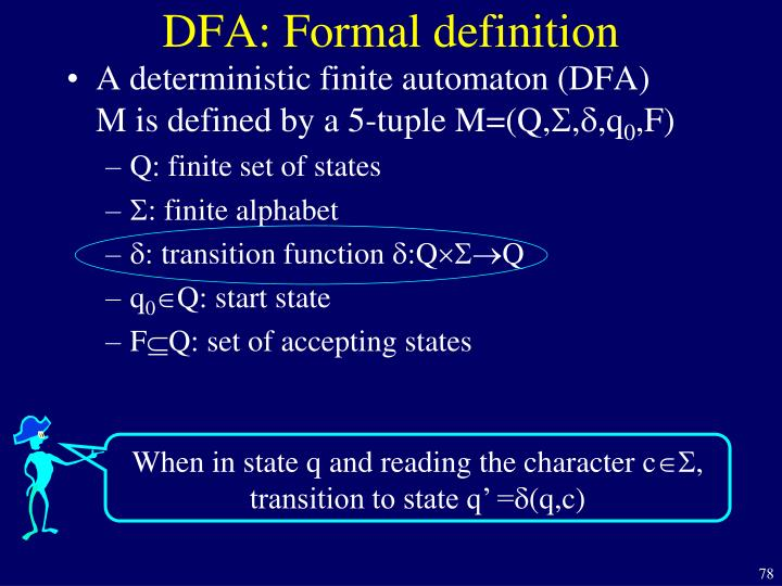 DFA: Formal definition