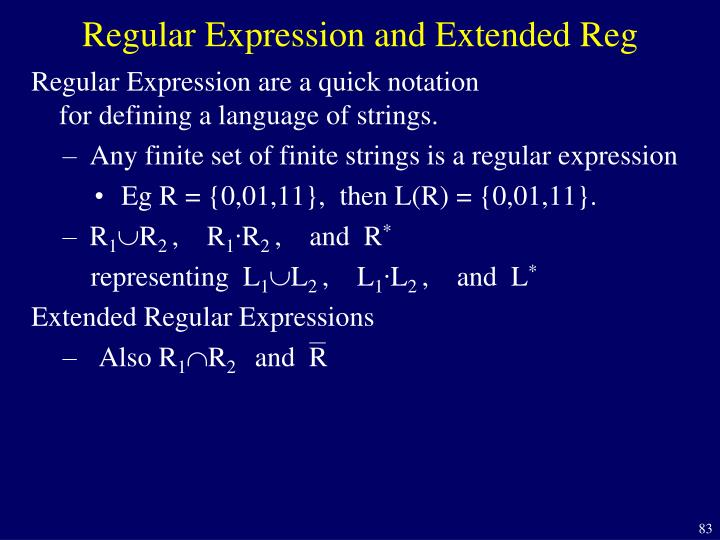 Regular Expression and Extended Reg