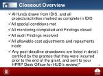 closeout overview1