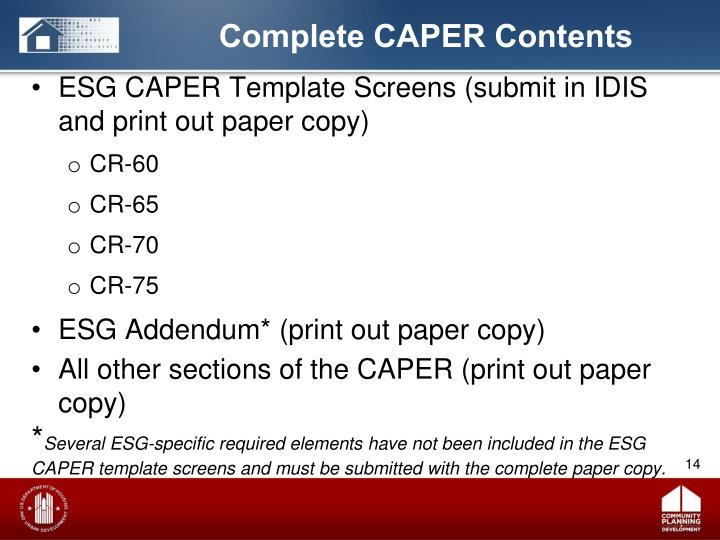 Complete CAPER Contents