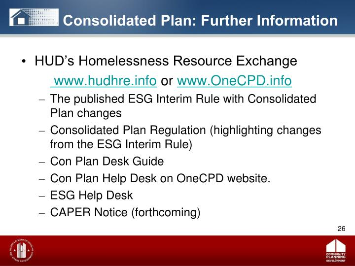 Consolidated Plan: Further Information