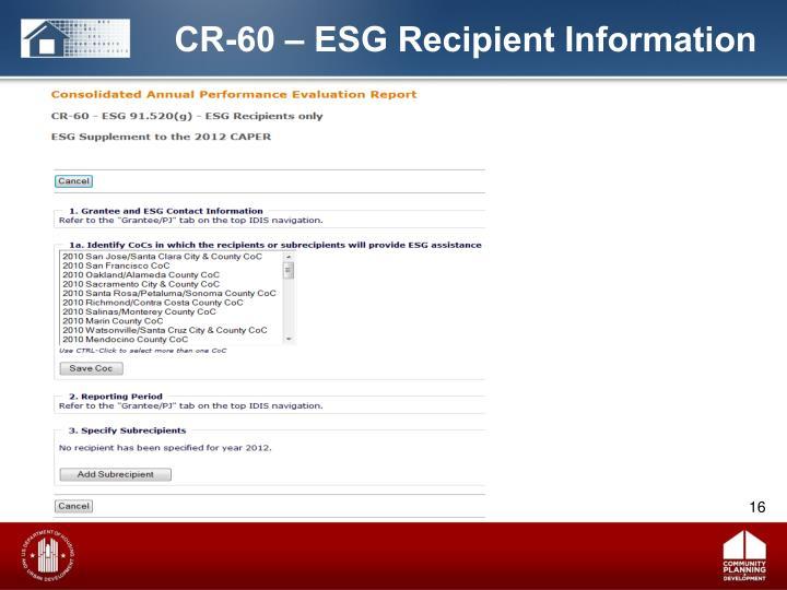 CR-60 – ESG Recipient Information