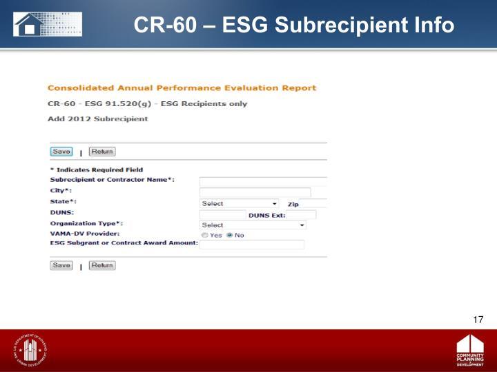 CR-60 – ESG