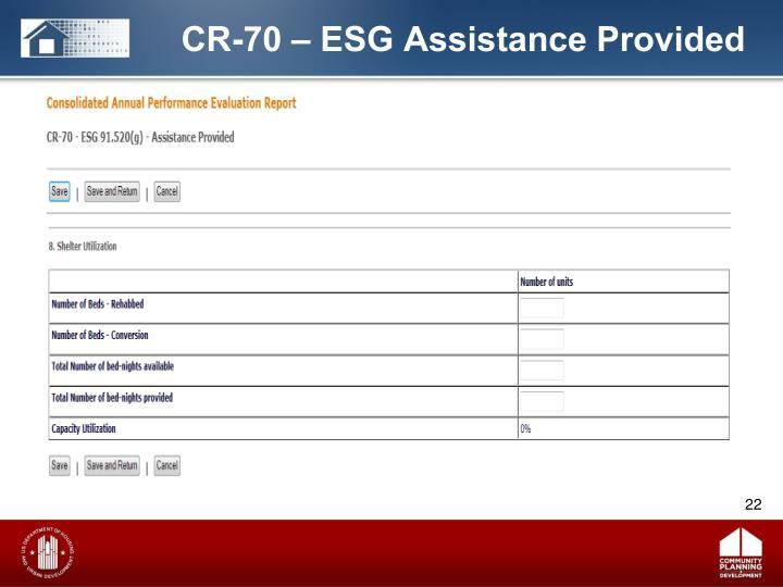 CR-70 – ESG Assistance Provided
