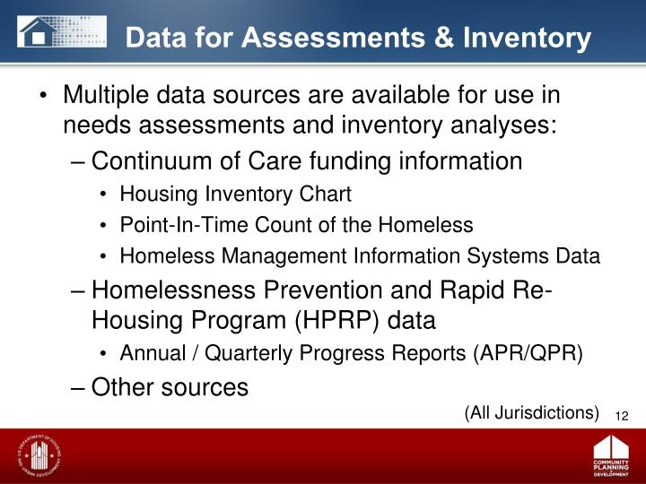 Data for Assessments & Inventory