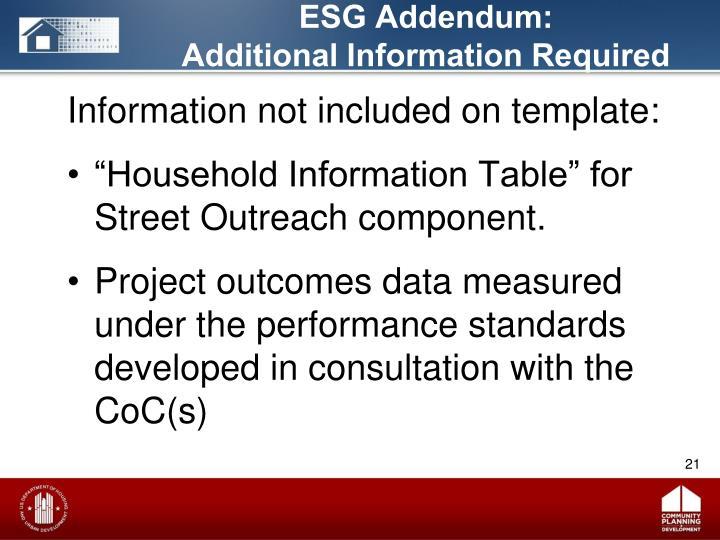 ESG Addendum: