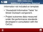esg addendum additional information required
