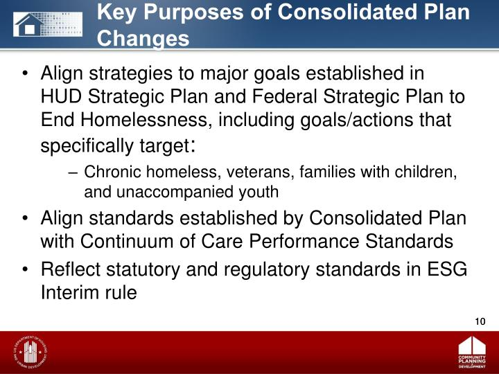 Key Purposes of Consolidated Plan Changes