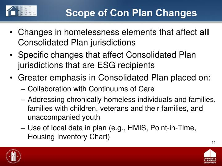 Changes in homelessness elements that affect
