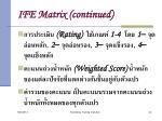 ife matrix continued