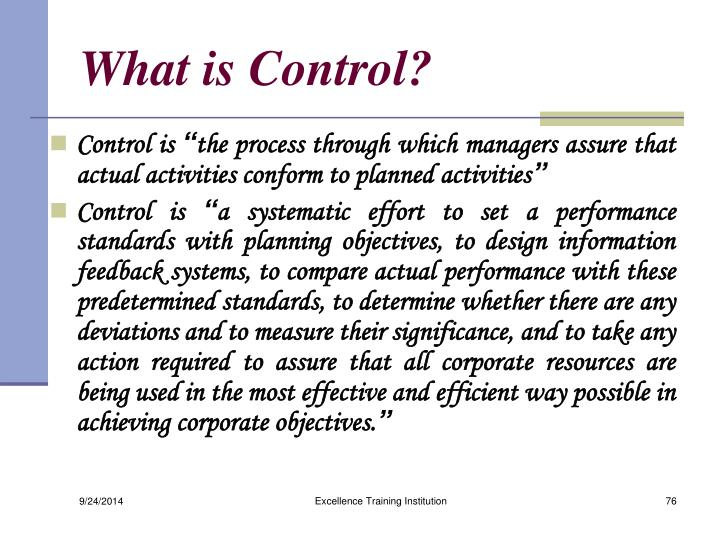 What is Control?