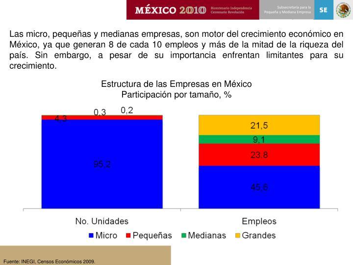 Las micro, pequeñas y medianas empresas, son motor del crecimiento económico en México, ya que generan 8 de cada 10 empleos y más de la mitad de la riqueza del país. Sin embargo, a pesar de su importancia enfrentan limitantes para su crecimiento.