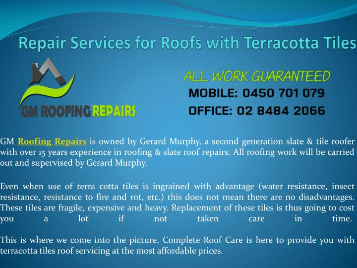 repair services for roofs with terracotta tiles