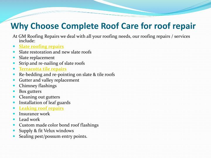 Why choose complete roof care for roof repair