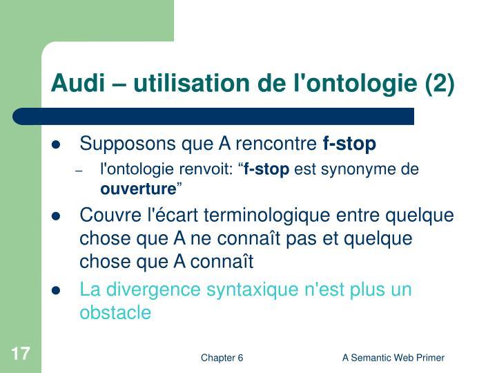 Audi – utilisation de l'ontologie (2)