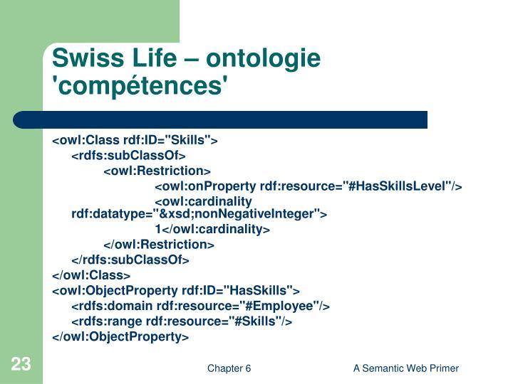 Swiss Life – ontologie 'compétences'