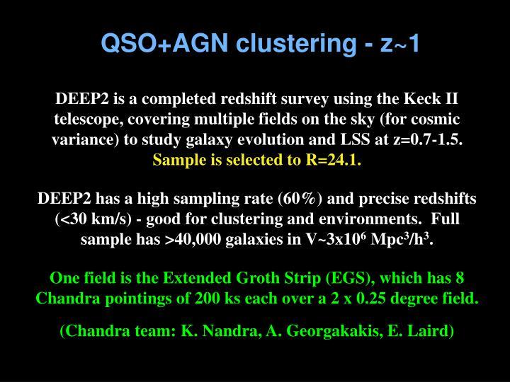 QSO+AGN clustering - z~1