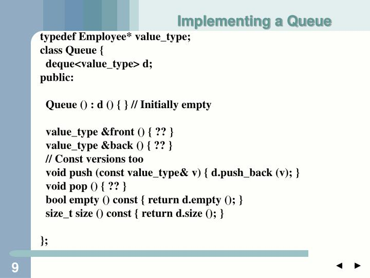 Implementing a Queue