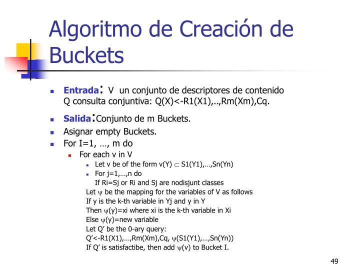 Algoritmo de Creación de Buckets