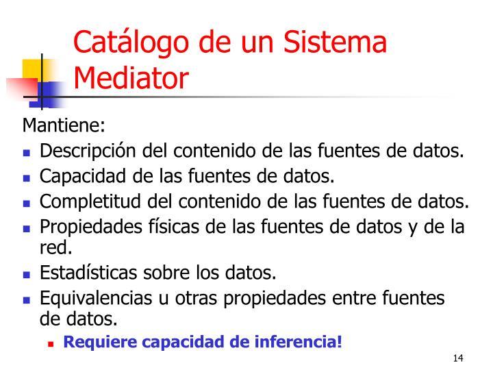 Catálogo de un Sistema Mediator