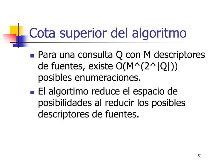 Cota superior del algoritmo