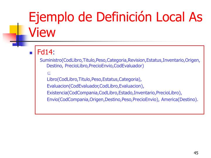Ejemplo de Definición Local As View