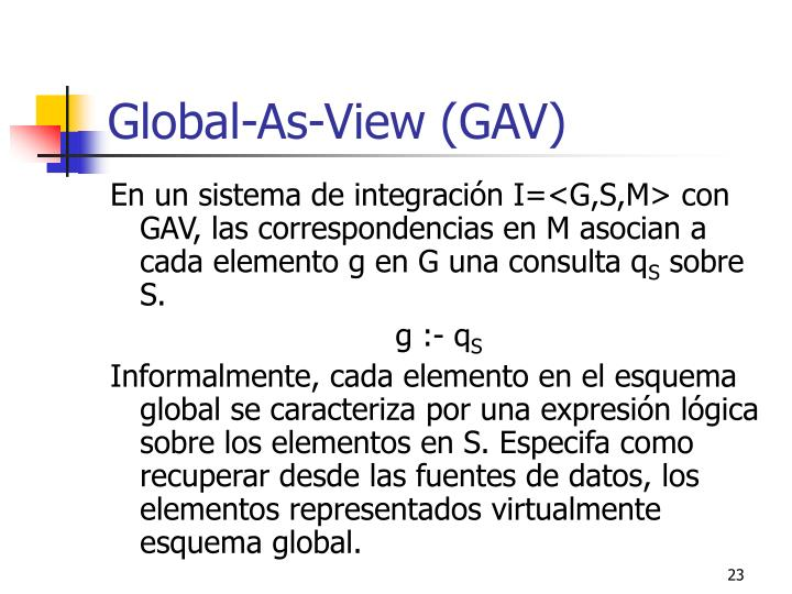 Global-As-View (GAV)