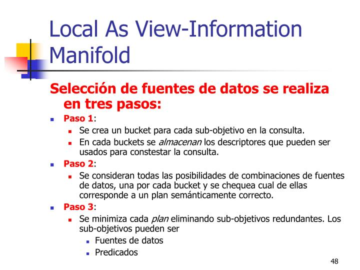 Local As View-Information Manifold