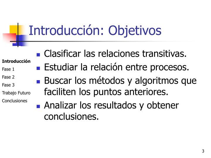 Introducción: Objetivos