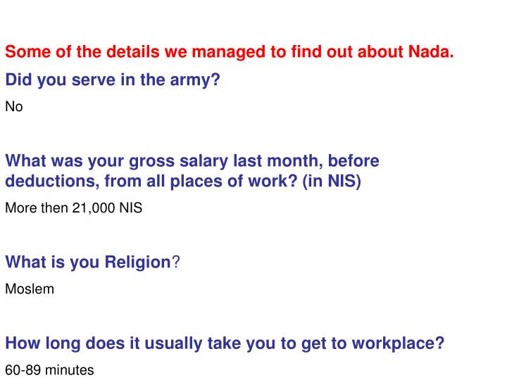 Some of the details we managed to find out about Nada.