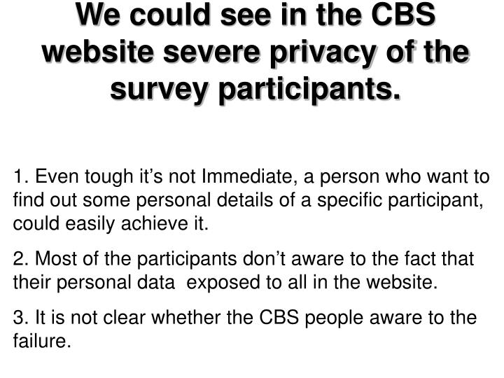 We could see in the CBS website severe privacy of the survey participants.