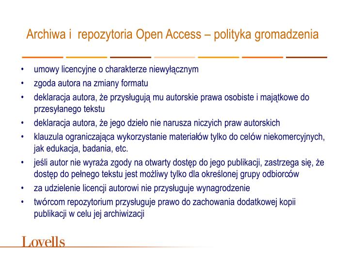 Archiwa i repozytoria Open Access – polityka gromadzenia
