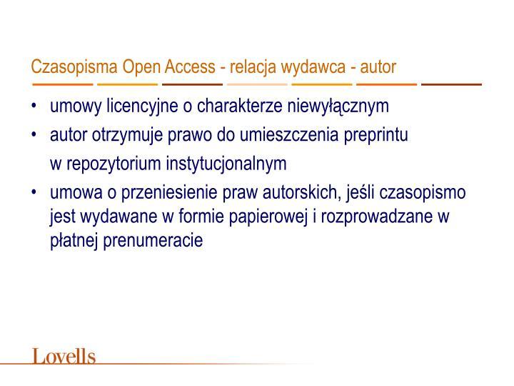 Czasopisma Open Access - relacja wydawca - autor