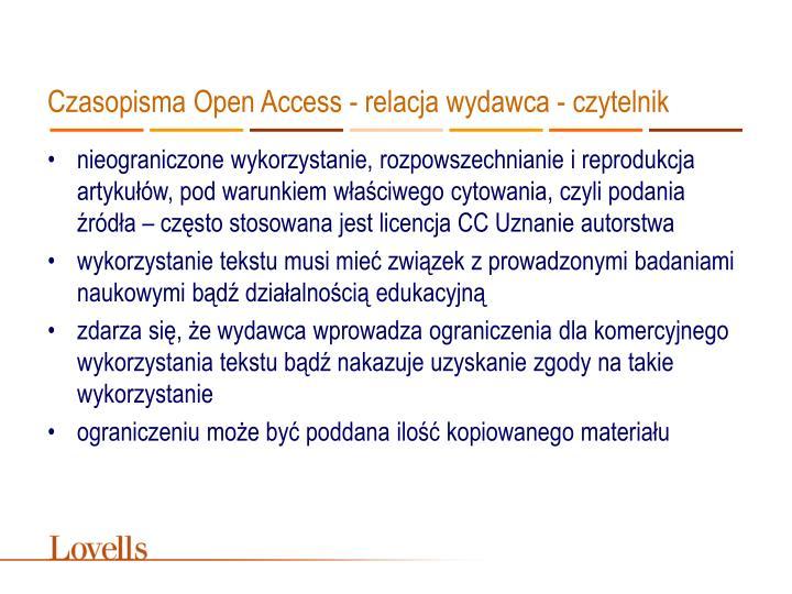 Czasopisma Open Access - relacja wydawca - czytelnik