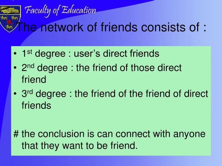 The network of friends consists of :