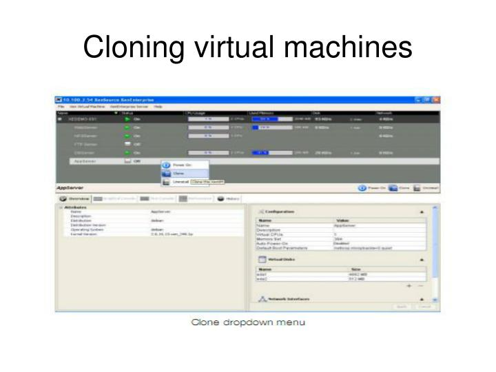 Cloning virtual machines