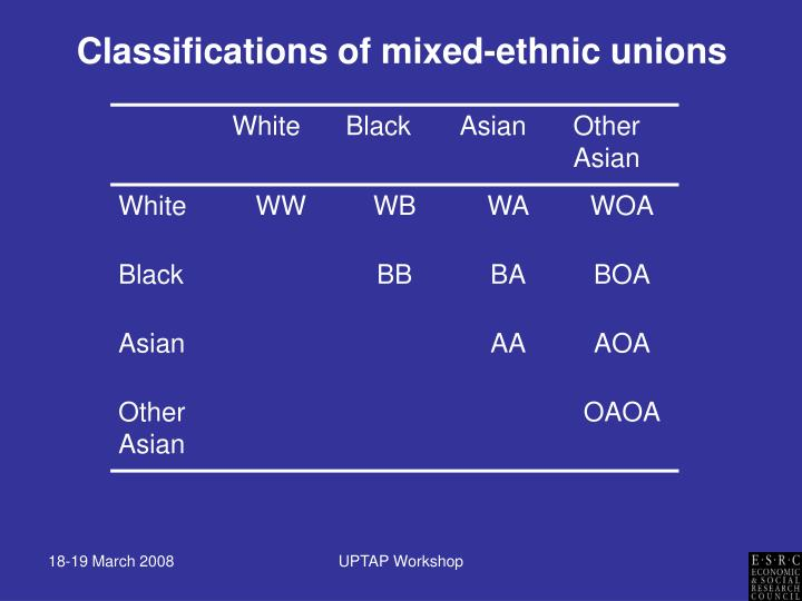 Classifications of mixed-ethnic unions