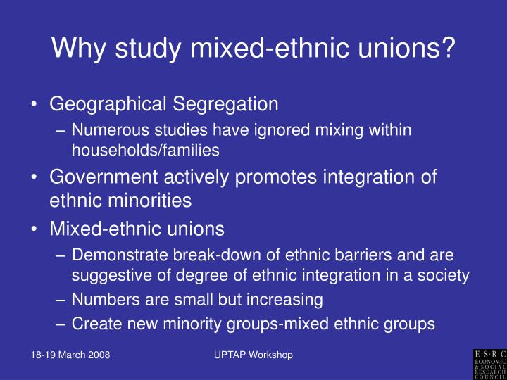Why study mixed ethnic unions