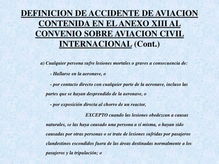 DEFINICION DE ACCIDENTE DE AVIACION