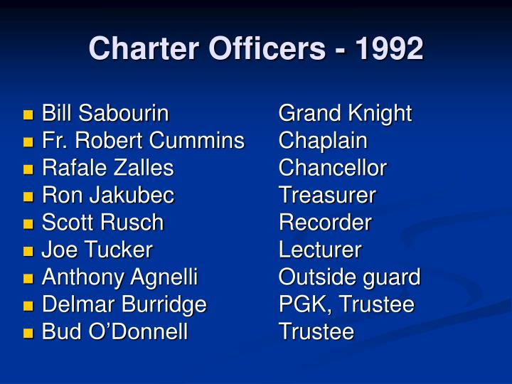 Charter Officers - 1992