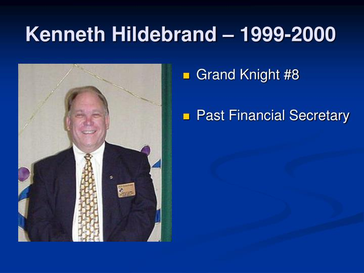 Kenneth Hildebrand – 1999-2000