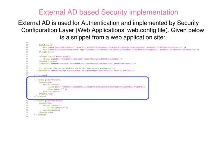 External AD based Security implementation