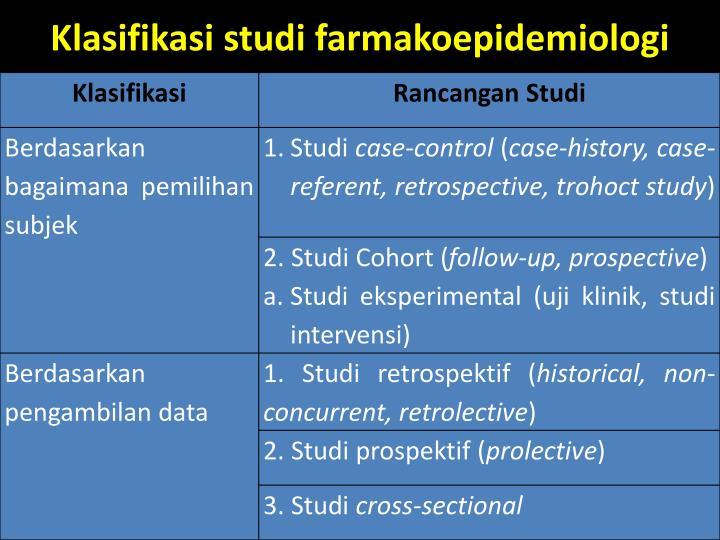 Klasifikasi studi farmakoepidemiologi